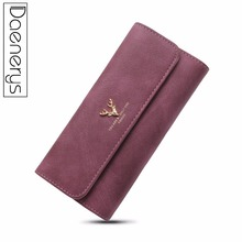 Daenerys Womens Wallets And Purses Long Leather Hasp Ladies Wallet With Animals Deer Credit Card Holder Zipper Clutch For Girls все цены