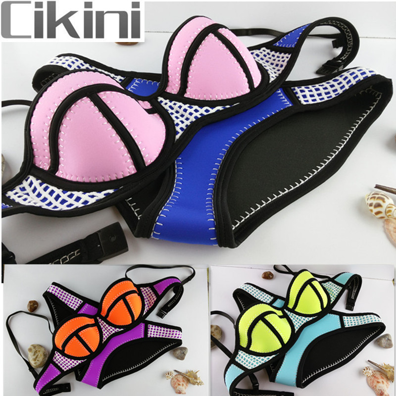 все цены на Neoprene Bikini Women Swimwear Woman New Summer Sexy Swimsuit Beach Bath Suit Push Up Bikini set Bathsuit Biquini TA06-B