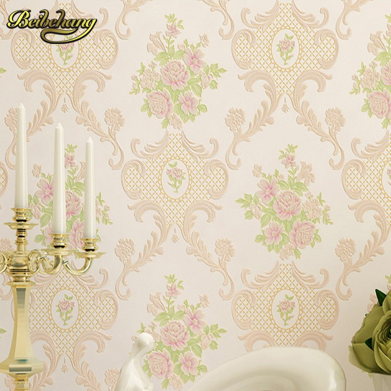 beibehang wall paper Pastoral cozy living room bedroom wallpaper 3D three-dimensional relief European non-woven papel de parede