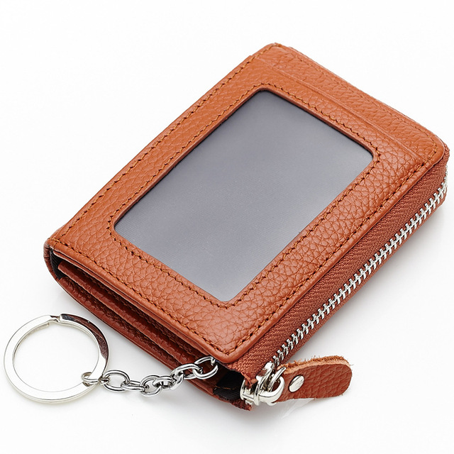 2017 Cow Genuine Leather Zipper Bag Coin Purse Card ID Holders Key Ring Buckle Bank Card Zero Purse Photo Coin Bag Receipt Walle