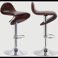 2xPCS European And America Style Leather Metallized Fashion Kitchen Bar Stool Furniture With Cupper Coins Decoration