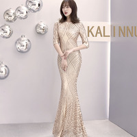 EW Elegant half sleeve O Neck Gold Sequined Party Dress Stretch Floor Length Bodycon Black Maxi Dress Linning Evening Gown