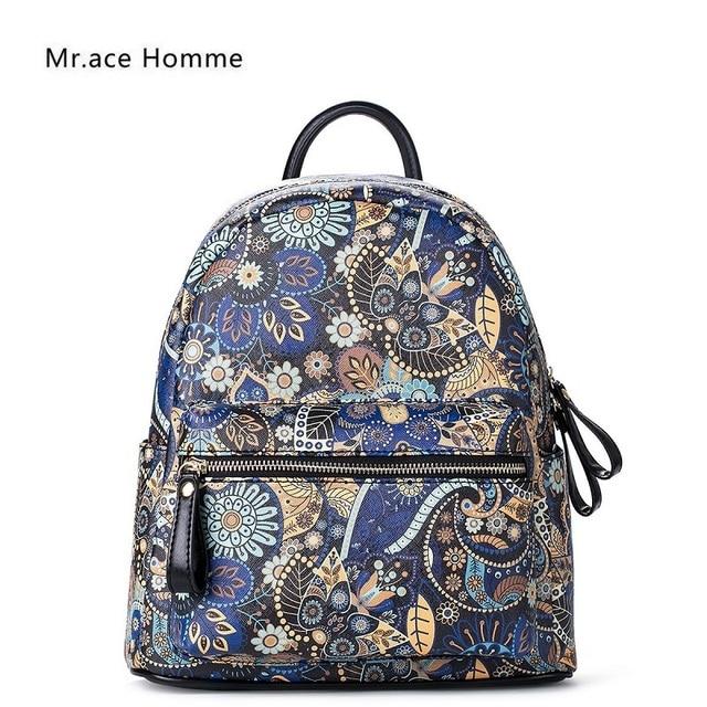 Top Grade Brand Backpacks Ladies Floral Printed Backpack Shoulder Bags for Female  PU Leather School Bags Designer Travel mochila 3169cec9f960c