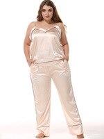 Sexy V Neck Cami+Pants Pajama Pijama Set Women 2PCS Sleepwear Rayon Satin Nightwear Suit Large Size L XXXL Lounge Home Wear
