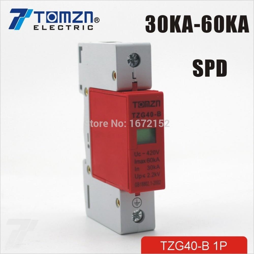 SPD 1P 30KA~60KA D ~385VAC House Surge Protector Protective Low-voltage Arrester Device
