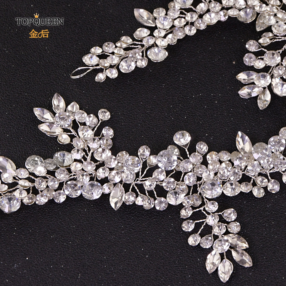 Image 3 - TOPQUEEN HP259 wedding hairpiece crystal headband woman hairband tiaras and crowns for women rhinestone hair vine wedding tiara-in Bridal Headwear from Weddings & Events