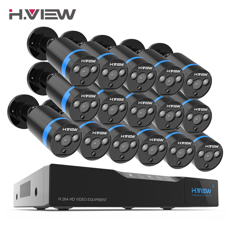 H. view 16ch sistema de vigilância 16 1080 p ao ar livre câmera de segurança 16ch cctv dvr kit de vigilância por vídeo iphone android vista remota