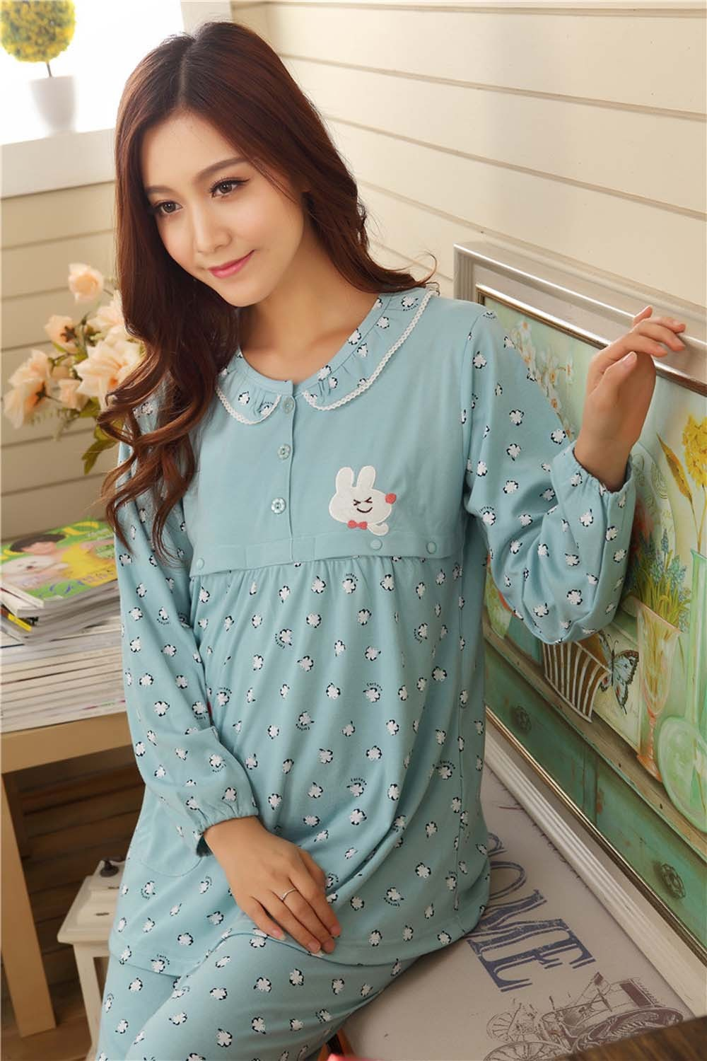 Pregnant-Woman-Pajamas-Postpartum-Breastfeeding-Month-Of-Serving-Lapel-Clothes-Long-sleeve-Sleepwear-Suits-CL0800 (9)