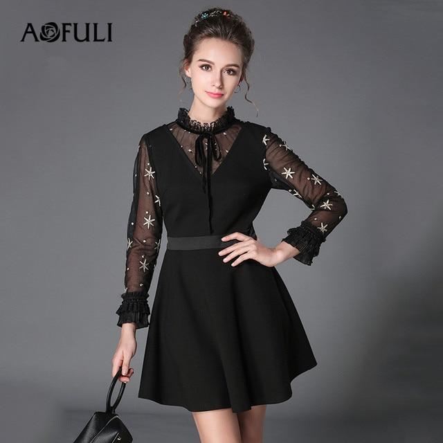 Aofili L-XXXL 5XL vestido de otoño para mujer talla grande 2017 para damas  de d18145b15986