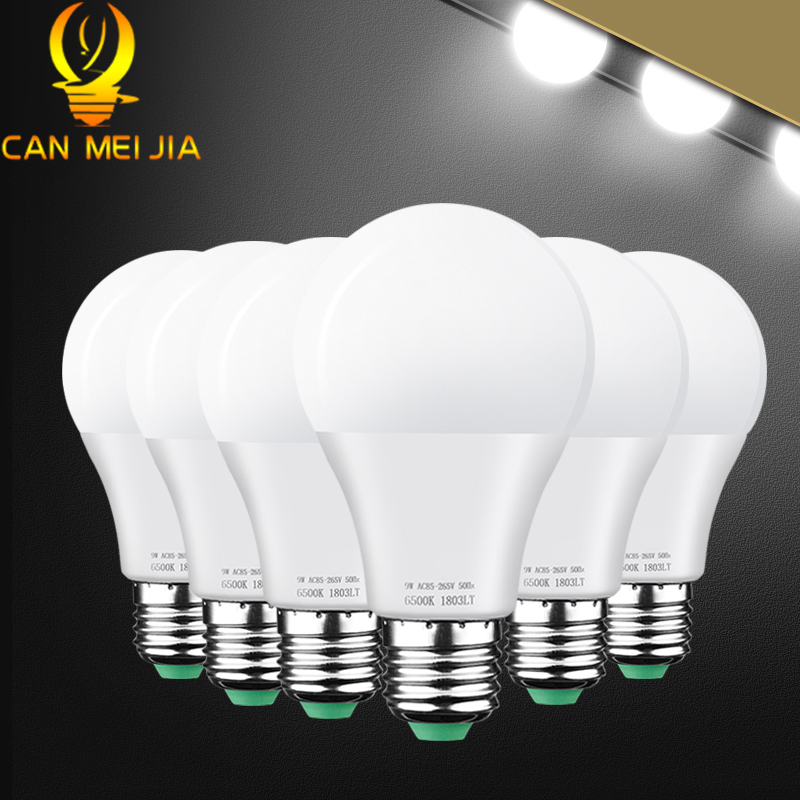 6pcs E27 <font><b>LED</b></font> Bulbs <font><b>220V</b></font> <font><b>Led</b></font> Lamp 3W 5W 7W 9W 10W <font><b>15W</b></font> 18W Light Bulb 110V 120V Bombillas Ampoule <font><b>Led</b></font> for Home Warm/Cold White image