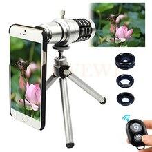 Cheapest prices Camera Phone Lentes Kit 12x Zoom Telescope Telephoto Lens+Tripod+Macro Wide Angle Fisheye Lenses For iPhone 4 5 5C 5S SE 6 6S 7