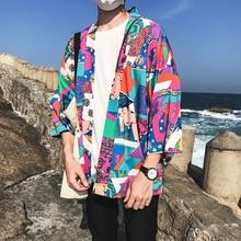 Full Printed Japanese Style Kimono Jacket Men 2018 Summer Three Quarter Sleeve Mens Jackets