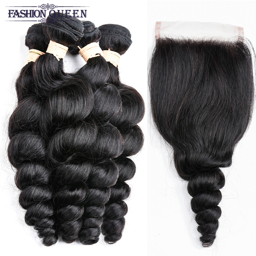Loose Wave 100% Brazilian Human Hair Natural Color 4 Bundles with 4*4 Lace Closure Free Shipping Non-remy Hair Free Shipping