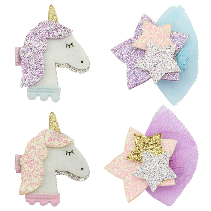 4Pcs Gilter Unicorn/Star Hair Clips for Girls Fashion Kids Hairpins Barrettes Cartoon Hairgrip Hair Accessories Drop Shipping 43 2017 new fashion hair clips for girls santa claus christmas tree snowman elk pattern xmas hairpins barrettes hair accessories