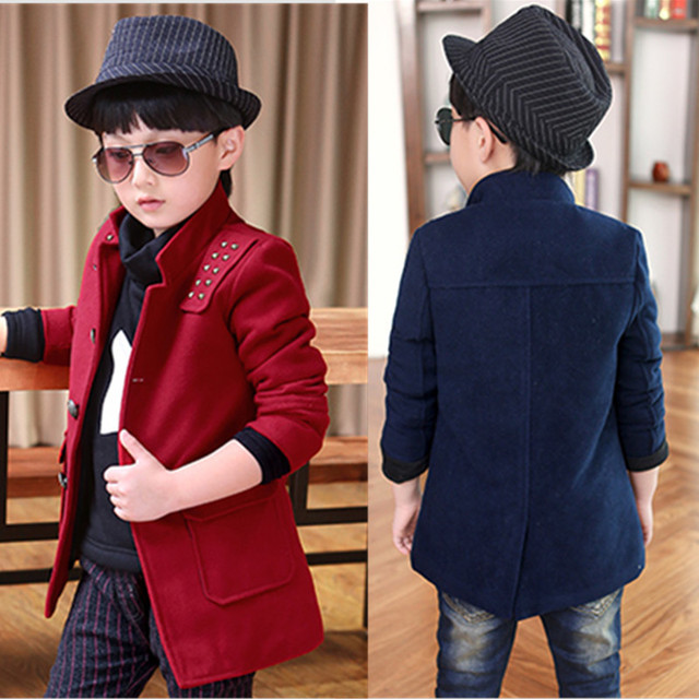 Jackets For Boys 2017 England Style Winter Children' s Clothing Boy Coat Thicken Warm Turn Down Collar Coat Jacket Kids Clothes