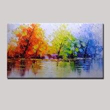 Ручная роспись, цветной нож с деревом, современная живопись маслом на холсте, Настенный декор, настенные картины для гостиной, домашний декор