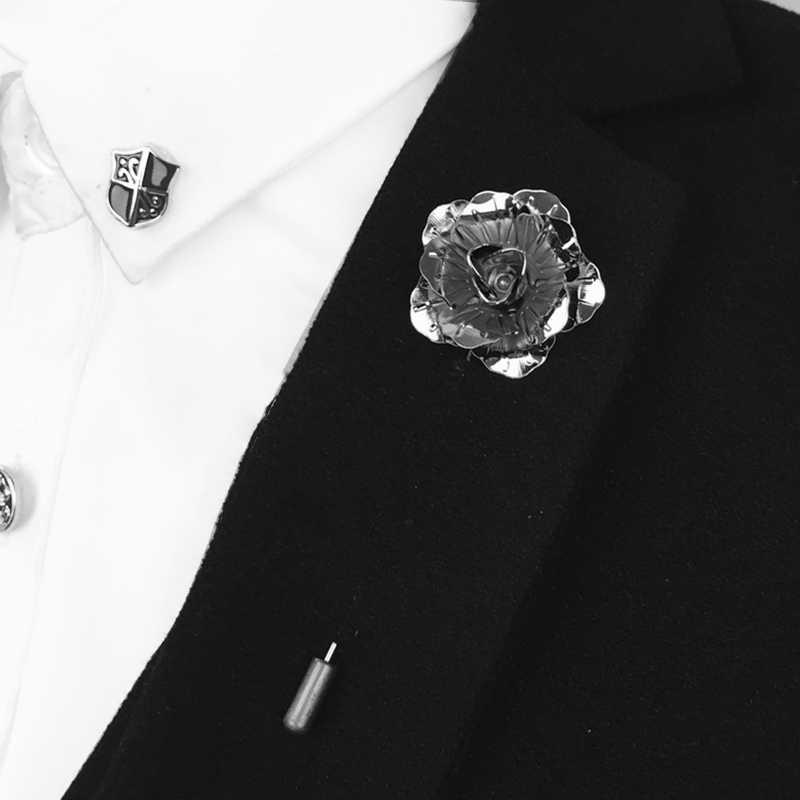 07ed5ad2ab4 ... Metal Rose Flower Lapel Pin for Women Men Suit Dress Lapel Stick Brooch  Pins Wedding Party