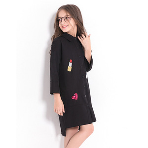 Image 5 - فستان بناتي للأطفال المراهقات فستان شيفون أسود غير رسمي للخريف بأكمام طويلة مطرز بالترتر للأطفال ملابس للبنات 8 10 12 سنة