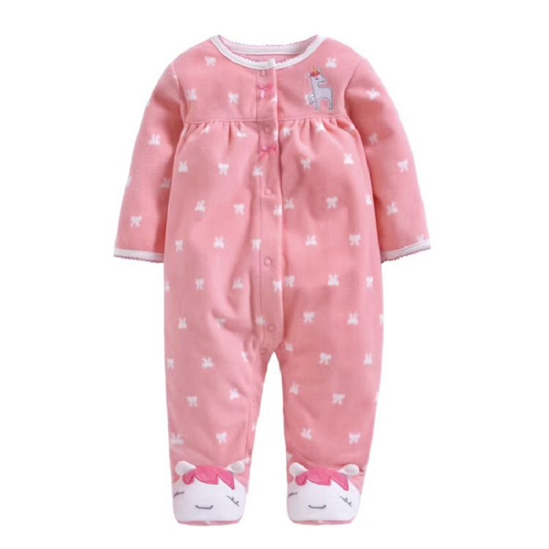 Spring Autumn winter Fleece Baby   Rompers   Cute Pink Baby Girl Boy Clothing Infant Baby Girls Clothes Jumpsuits Footed Coverall