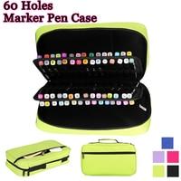 60 Holes Marker Pen Case Large Capacity Oxford Fold Handbag Marker Bag Pen Box Student Stationery Art Supplies Estuche Escolar