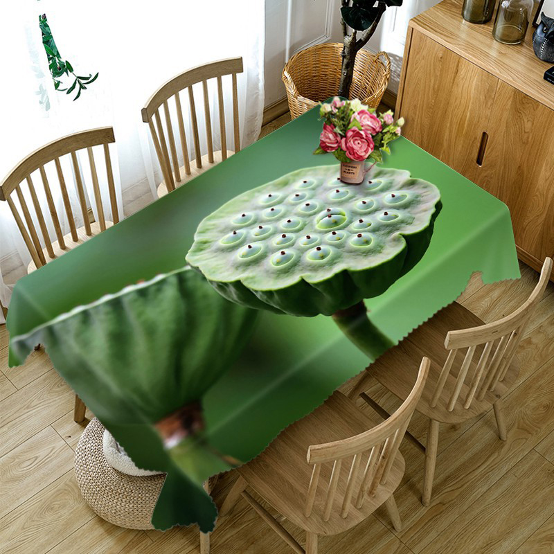 3D Tablecloth Fresh Lotus Pattern Washable Cloth Thicken Rectangular and Round Table Cloth for Wedding Customizable size