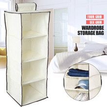 Non-Woven Fabric 4 Section Hanging Bag Storage Cabinets Folding Shelves Wardrobe Household Supplies Shoe Space Saver Home