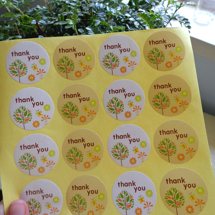 120Pcs 2018 New Arrival Thank You Tree Circle Handmade Cake Sealing Label Kraft Sticker Baking DIY Gift Round Stickers M1057 120pcs thank you heart round eco friendly kraft stationery label seal sticker students diy retro label handmade products