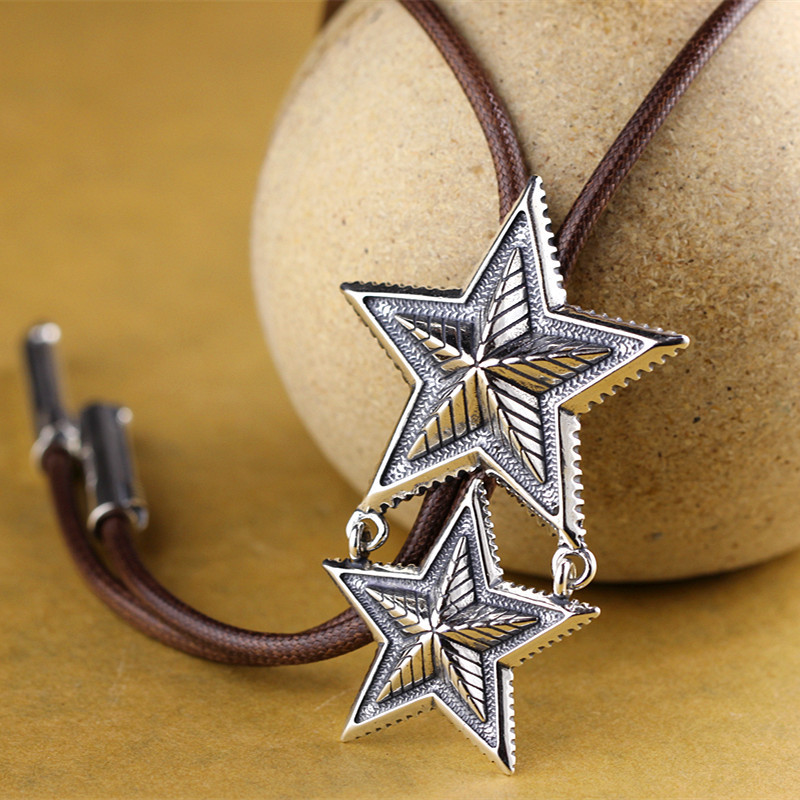 Character silver items S925 pure silver ornaments handmade folk ms pentagram sweater chain
