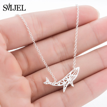 SMJEL Designer Inspirational Shark Necklace Choker Sliver Ocean Animal Power Whale Fish Jewelry Gifts Bijoux