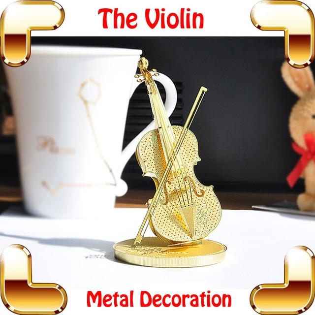 Romantic Gift Violin 3D Model Metal Golden Music Instrument Smart Game DIY  Music Decoration Golden Model