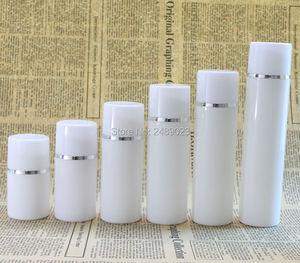 Image 3 - زجاجة بلاستيكية خالية من الهواء مع خط فضي فارغة حاويات مستحضرات التجميل غطاء أبيض تغليف مستحضرات التجميل 100 قطعة/الوحدة شحن مجاني DHL