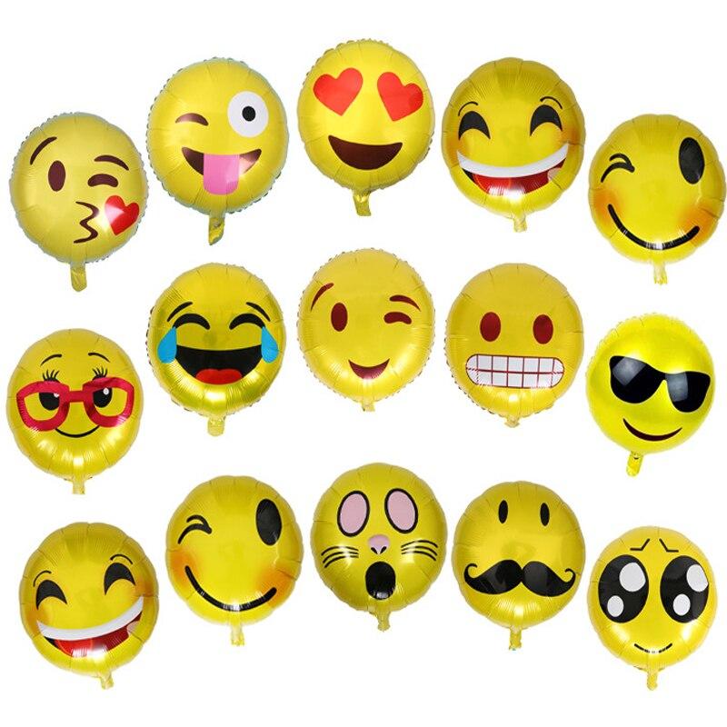 13pcs/set Emoji Foil Balloons Smiley Face Expression Yellow ballon Wedding Birthday Party Decoration Inflatable Balls globos