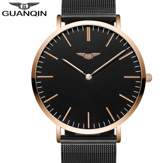 GUANQIN Brand Men Watches 2018 Luxury Quartz Ultra Thin Watch Men Stainless Steel Mesh Band Dress Wristwatch Relogio Masculino top brand otex men watch stainless steel band analog display quartz wristwatch ultra thin dial men s watches relogio masculino