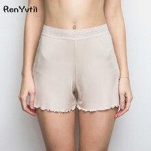 RenYvtil Sleep Shorts Natural Silk Pants Home Women Luxury Ladies Nightwear