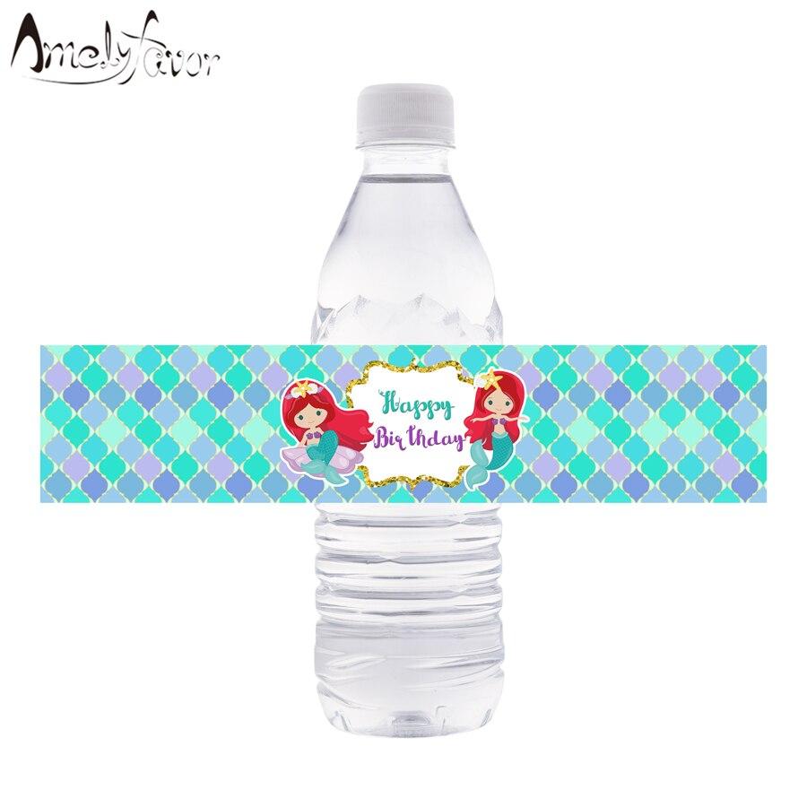 Mermслуды, обертки для бутылок с водой, маленькие мермазеры, этикетки для бутылок с водой, детские украшения для дня рождения, мермазеры, детск...
