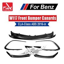 ABS 8PCS CLA45 Style CLA Class Front Bumper Canards Apron W117 Lip Fin for Mercedes Benz Facelift Sports version 16+