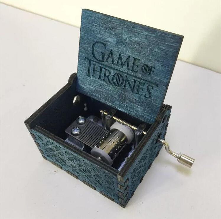 DROPSHIPPING Hand Crank Game of Thrones Engraved Wooden Box play Movie Music Best Toy Gift For fans Unique Christmas Gift wooden 3d building model toy gift puzzle hand work assemble game woodcraft construction kit merry christmas castel shop store