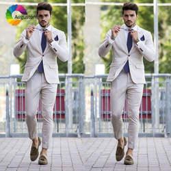 High Street индивидуальные бежевый мужской костюм с брюки для девочек 2 шт. Best человек пиджаки женщин куртка Slim Fit Жених Смокинги Костюмы для