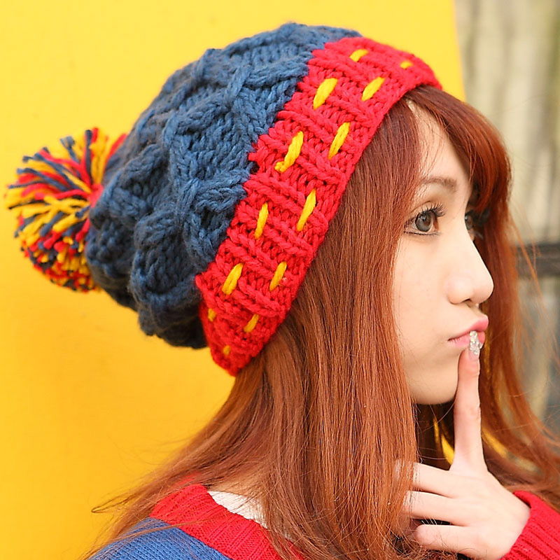 BomHCS Women Winter Warm Handmade Braided Crochet Knitted Beanie Double Color Mosaic With Rope &Hair Ball Fashion Hat Cap bomhcs cute big flower beanie winter lady s warm crochet knitted hat 10