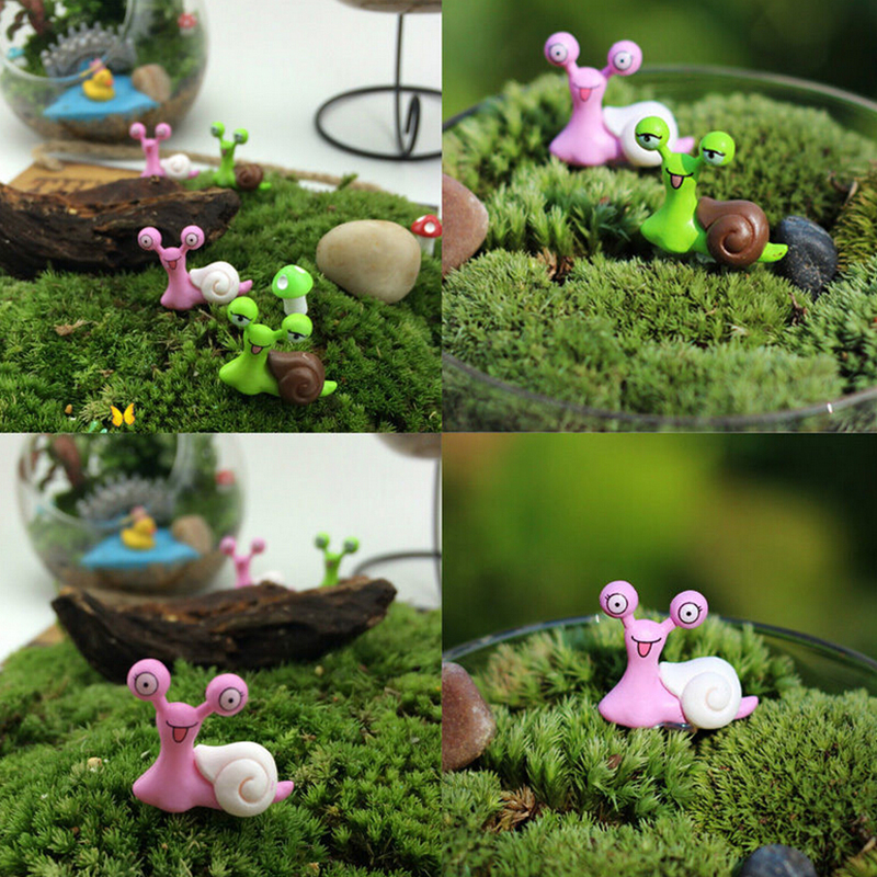 4pcs lot cartoon snails fairy garden miniatures figurines for Escargot decoration jardin
