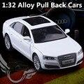 1:32 modelos de carros de liga, O Audi A8 modelo de simulação de alta, De fundição de metal, Veículos de brinquedo, Puxar para trás e piscando & musical, Frete grátis