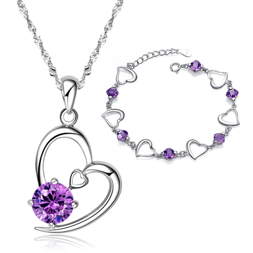 Pendant Purple Crystal Bracelet 925 Pure Silver Jewelry Set Fashion Gifts Girlfriend Birthday Gift