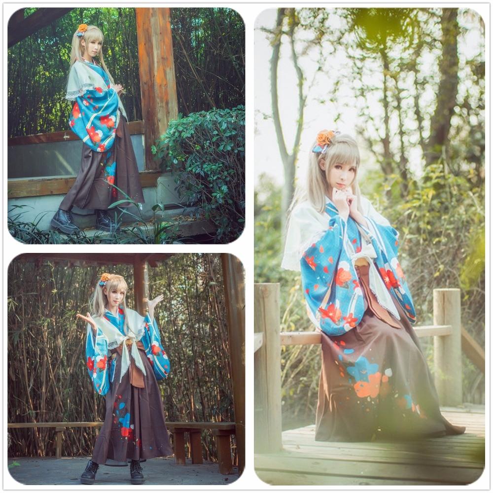Love Live Minami Kotori Blue Printed Taisho Kimono Shirt Unawakened Cosplay Costume Custom Adult Women Dress