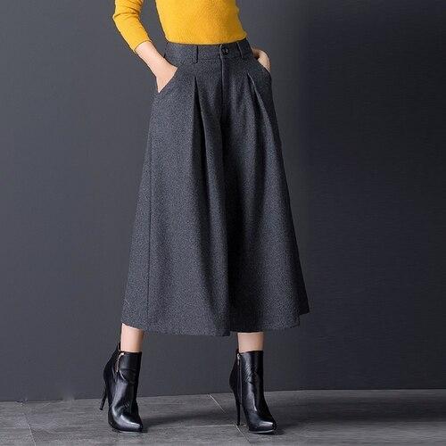 High Waist   Wide     Leg     Pants   Wool Skirt Trousers Korean Loose Trousers Women Fashion Brief   Pants   Women Autumn And Winter New