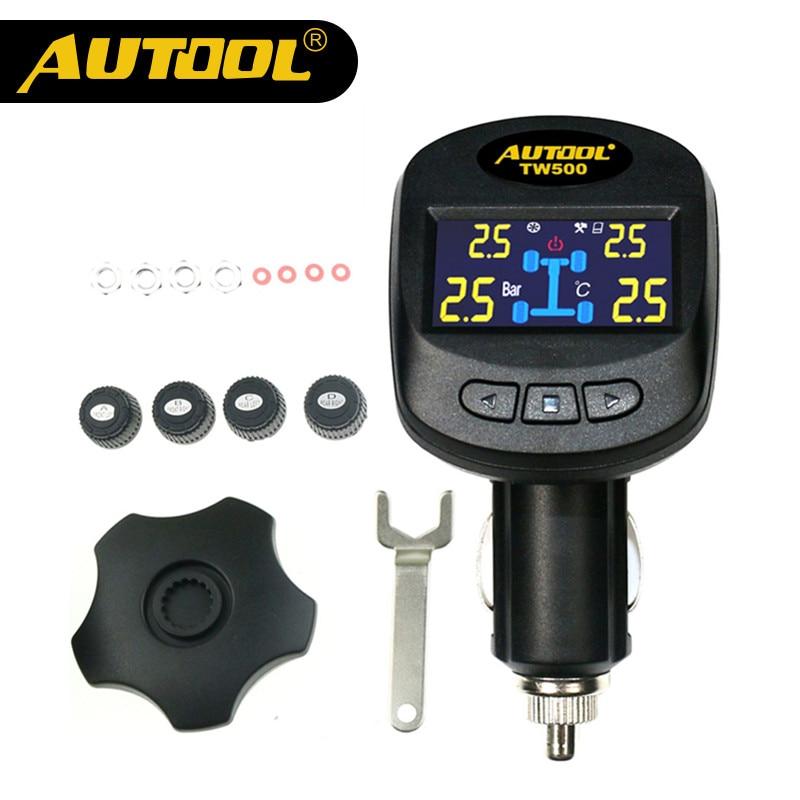 AUTOOL TW500 Car TPMS Tire Pressure Alarm Universal Wireless Autos TPMS Tire Pressure Monitor System+4 Internal External Sensors