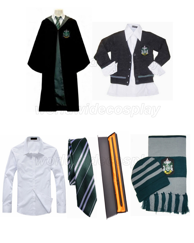 Free Shipping Harry Slytherin House Robe Sweater Shirt Necktie Hat Scarf Draco Malfoy Magic Wand for Halloween and Christmas