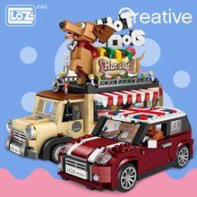 لوز تكنيك اللبنات الصغيرة هوت دوج عربة سيارة تجميع الاطفال ألعاب تعليمية للأطفال الخالق الآيس شاحنة الآيس كريم