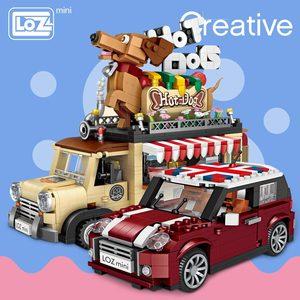 Image 1 - LOZ Technic Mini bloques de construcción, carrito de perro caliente, coche, vehículo, juguetes educativos para niños, Creator, camión helado
