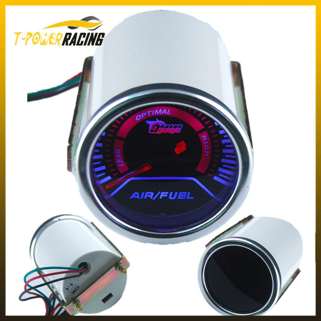 52MM Racing Car Pointer Smoke Air Fuel Ratio Meter Auto Gauge Blue LED Light YC100060