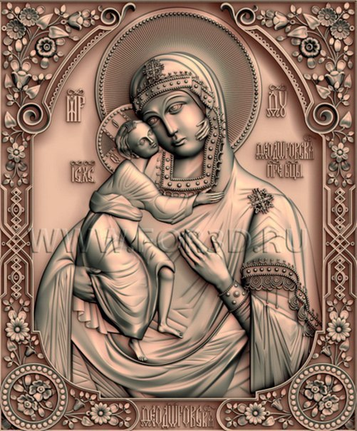 3d  model Icona_B_Mater_Fedorovskaya relief  for cnc in STL file format 3d model relief for cnc in stl file format rose 1